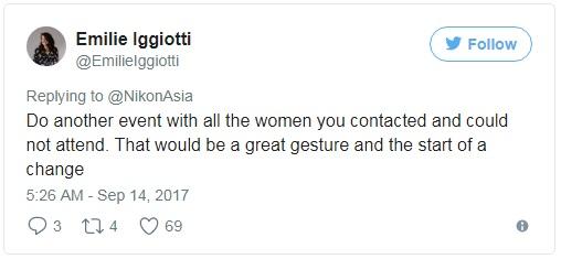 Thế thì hãy tổ chức một sự kiện khác và mời toàn bộ những nhiếp ảnh gia nữ đó xem nào.  Thế mới là hành động đẹp và mới có sức thuyết phục.