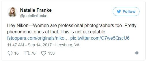 Này Nikon! Phụ nữ cũng là những nhiếp ảnh gia tài năng mà, thậm chí còn xuất sắc ấy!  Chiến dịch của mấy người đúng là không thể chấp nhận được.