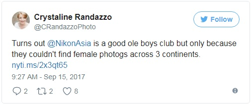 Có vẻ @NikonAsia là dành riêng cho nam giới rồi, vì dù đi khắp 3 lục địa khác nhau,  họ cũng không thể tìm được bất cứ nhiếp ảnh gia nữ nào cả!