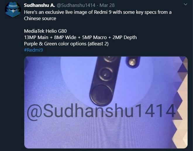 Xuất hiện ảnh mặt sau Redmi 9, xác nhận có 4 camera, có phiên bản màu tím, giá dưới 130 USD? - Ảnh 2.