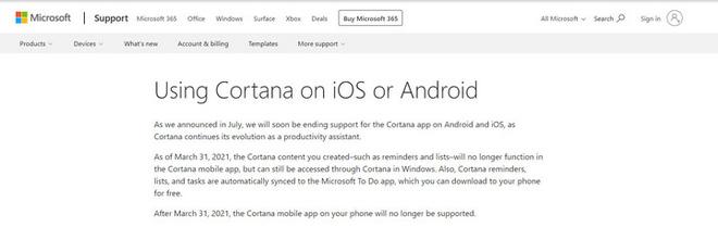"""Trợ lý ảo Cortana trên iPhone và smartphone Android đã chính thức """"nghỉ hưu"""" - Ảnh 2."""