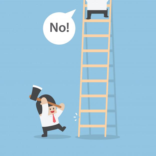 Giữ liên lạc với nhà tuyển dụng có khó không? Businessman-destroy-ladder-of-his-rival-by-axe_47328-331