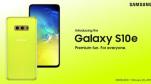 Poster chính thức của Galaxy S10e phiên bản màu vàng nổi bật