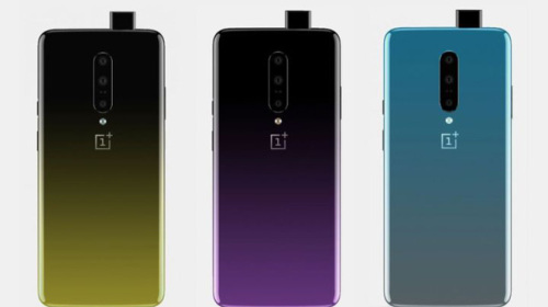 OnePlus 7 lộ diện với camera trước thò thụt, 3 camera sau, 3 màu gradient