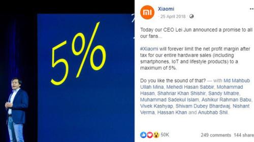 """Lời hứa """"Không bao giờ thu lãi quá 5% từ phần cứng"""" của Xiaomi nay đã tan thành mây khói"""