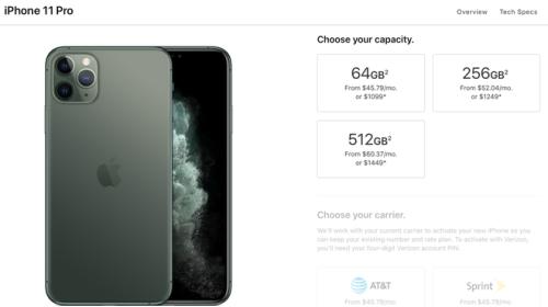 Không Pro: iPhone 11 Pro có bộ nhớ trong khởi điểm chỉ là 64GB